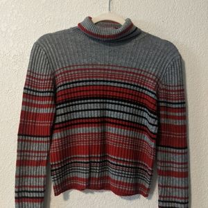 Red/Gray and black crop turtleneck sweater